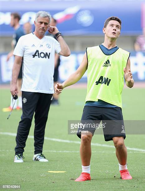 Ander Herrera of Manchester United in action during a first team training session as part of their preseason tour of China at Shanghai Stadium on...