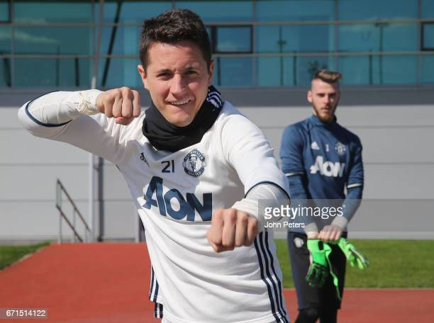 Ander Herrera of Manchester United in action during a first team training session at Aon Training Complex on April 22 2017 in Manchester England
