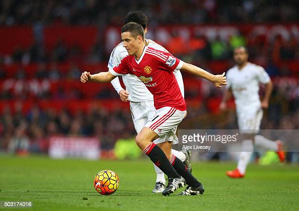 Ander Herrera of Manchester United in action during the Barclays Premier League match between Manchester United and Swansea City at Old Trafford on...