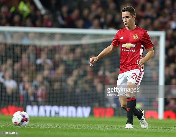Ander Herrera of Manchester United in action during the EFL Cup Fourth Round match between Manchester United and Manchester City at Old Trafford on...