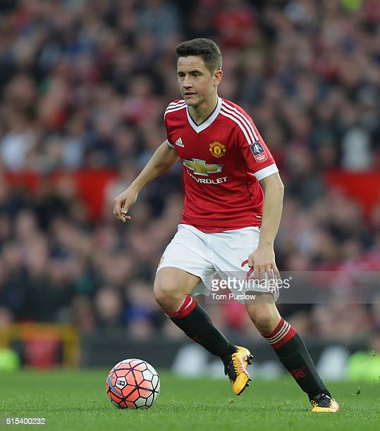 Ander Herrera of Manchester United in action during the Emirates FA Cup Sixth Round match between Manchester United and West Ham United at Old...