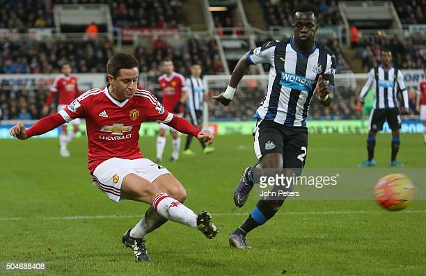 Ander Herrera of Manchester United in action with Cheick Tiote of Newcastle United during the Barclays Premier League match between Newcastle United...
