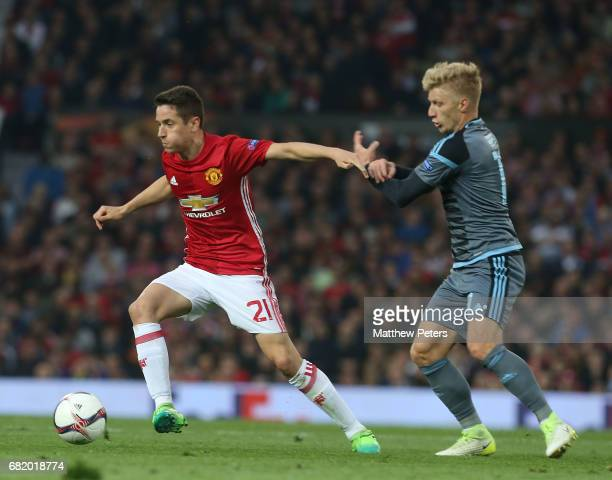 Ander Herrera of Manchester United in action with Daniel Wass of Celta Vigo during the UEFA Europa League semi final second leg match between...