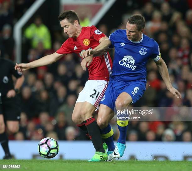 Ander Herrera of Manchester United in action with Phil Jagielka of Everton during the Premier League match between Manchester United and Everton at...