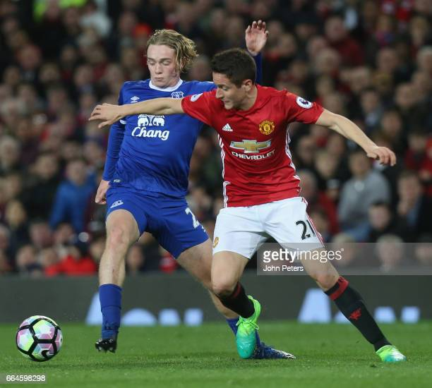 Ander Herrera of Manchester United in action with Tom Davies of Everton during the Premier League match between Manchester United and Everton at Old...