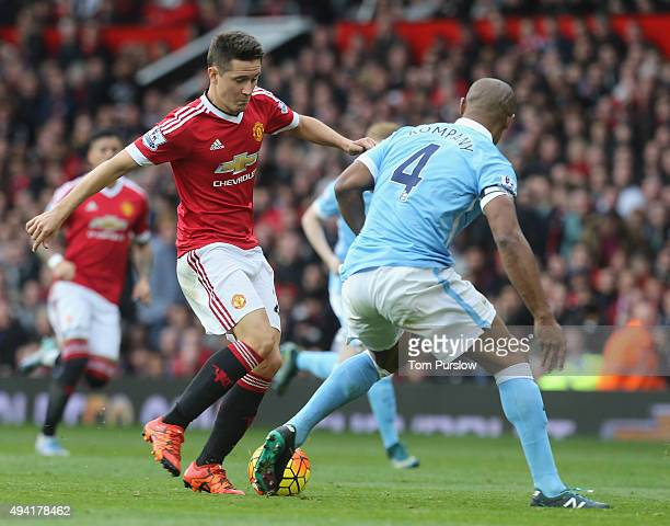 Ander Herrera of Manchester United in action with Vincent Kompany of Manchester City during the Barclays Premier League match between Manchester...