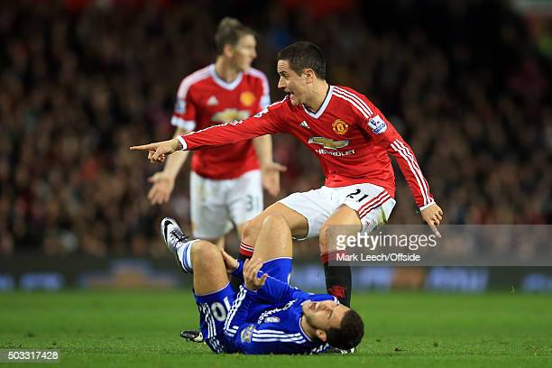Ander Herrera of Manchester United points to the ball after fouling Eden Hazard of Chelsea during the Barclays Premier League match between...