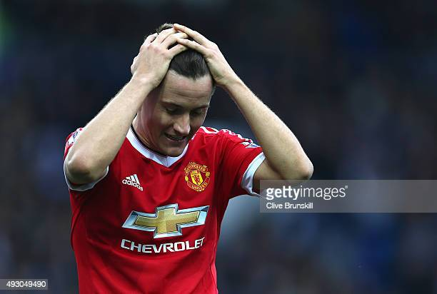 Ander Herrera of Manchester United reacts during the Barclays Premier League match between Everton and Manchester United at Goodison Park on October...