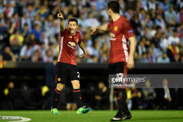Ander Herrera of Manchester United reacts during the UEFA Europa League semi final first leg match between Celta Vigo and Manchester United at...