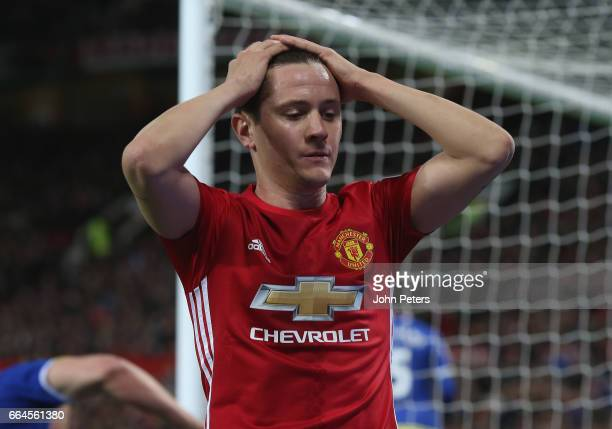 Ander Herrera of Manchester United reacts to hitting the crossbar during the Premier League match between Manchester United and Everton at Old...