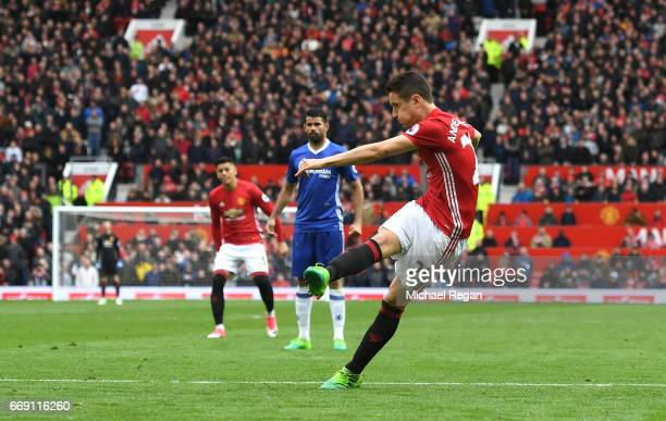 Ander Herrera of Manchester United scores his sides second goal during the Premier League match between Manchester United and Chelsea at Old Trafford...