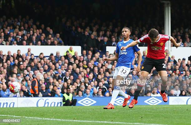 Ander Herrera of Manchester United scores his team's second goal during the Barclays Premier League match between Everton and Manchester United at...