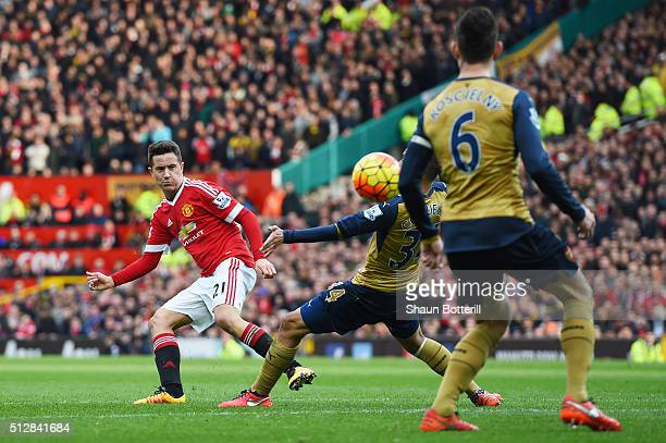 Ander Herrera of Manchester United scores his team's third goal during the Barclays Premier League match between Manchester United and Arsenal at Old...