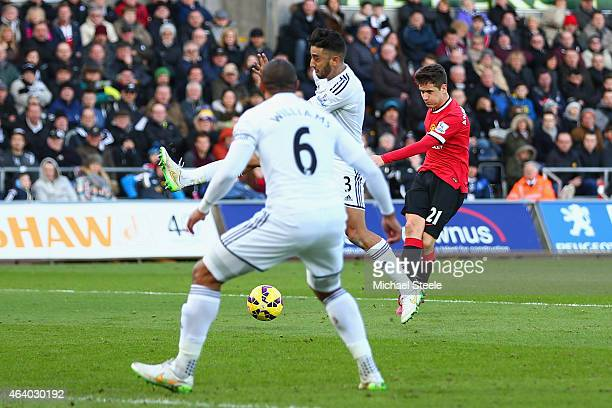 Ander Herrera of Manchester United scores the opening goal during the Barclays Premier League match between Swansea City and Manchester United at...