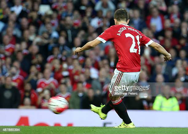 Ander Herrera of Manchester United scores their second goal during the Barclays Premier League match between Manchester United and Liverpool on...