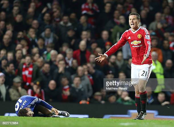 Ander Herrera of Manchester United shows his frustration at the awarding of a foul on Eden Hazard of Chelsea during the Barclays Premier League match...