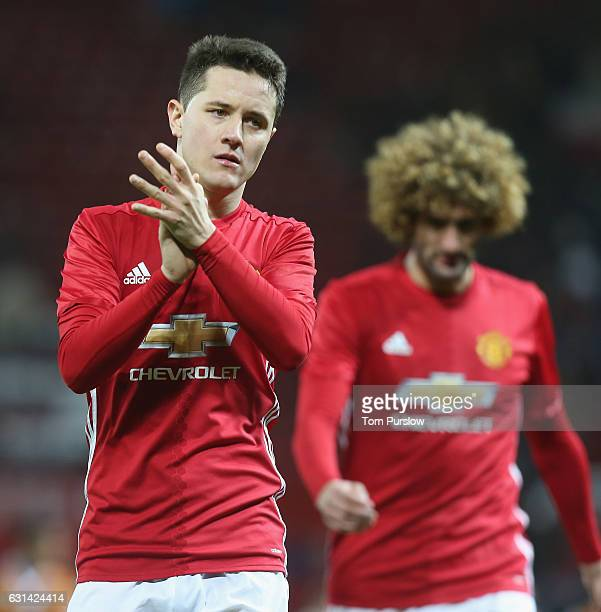 Ander Herrera of Manchester United walks off after the EFL Cup SemiFInal first leg match between Manchester United and Hull City at Old Trafford on...