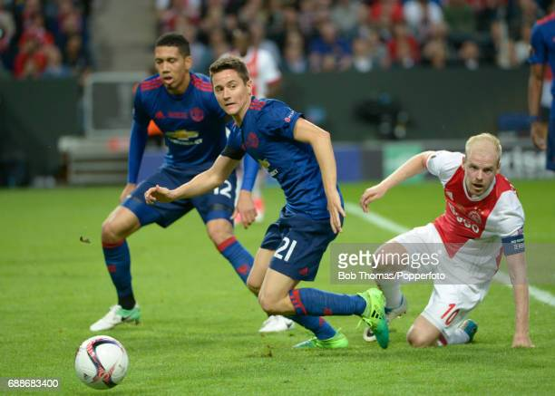Ander Herrera of Manchester United with Davy Klaassen of Ajax during the UEFA Europa League final between Ajax and Manchester United at the Friends...