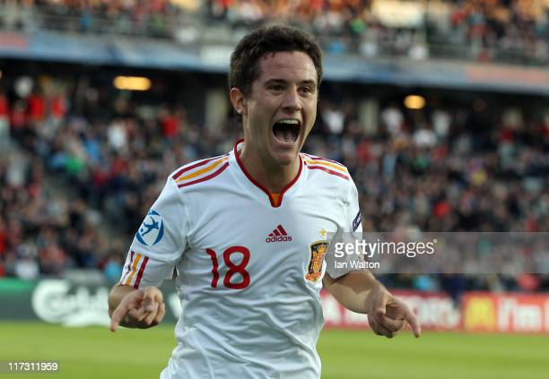Ander Herrera of Spain celebrates scoring the first goal during the UEFA European Under21 Championship Final match between Switzerland and Spain at...