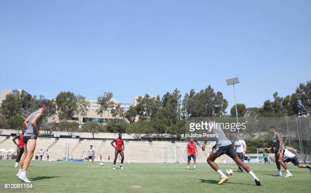 Ander Herrera Paul Pogba Andreas Pereira and Jesse Lingard of Manchester United in action during a first team training session as part of their...