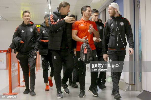 Ander Herrera Zlatan Ibrahimovic and David de Gea of Manchester United check in ahead of their flight to Basel at Manchester Airport on November 21...