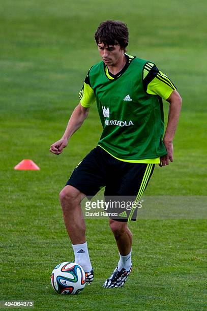 Ander Iturraspe of Spain in action during a training session at Ciudad del Futbol on May 27 2014 in Las Rozas de Madrid Spain