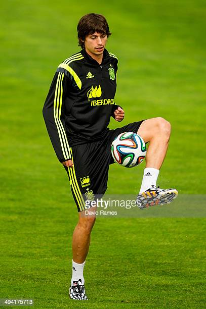 Ander Iturraspe of Spain juggles the ball during a training session at Ciudad del Futbol on May 28 2014 in Las Rozas de Madrid Spain