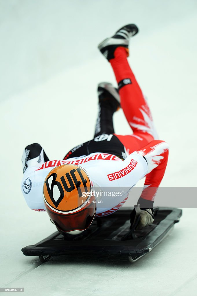 Ander Mirambell of Spain competes during the man's skeleton first heat of the IBSF Bob & Skeleton World Championship at Olympia Bob Run on February 1, 2013 in St Moritz, Switzerland.