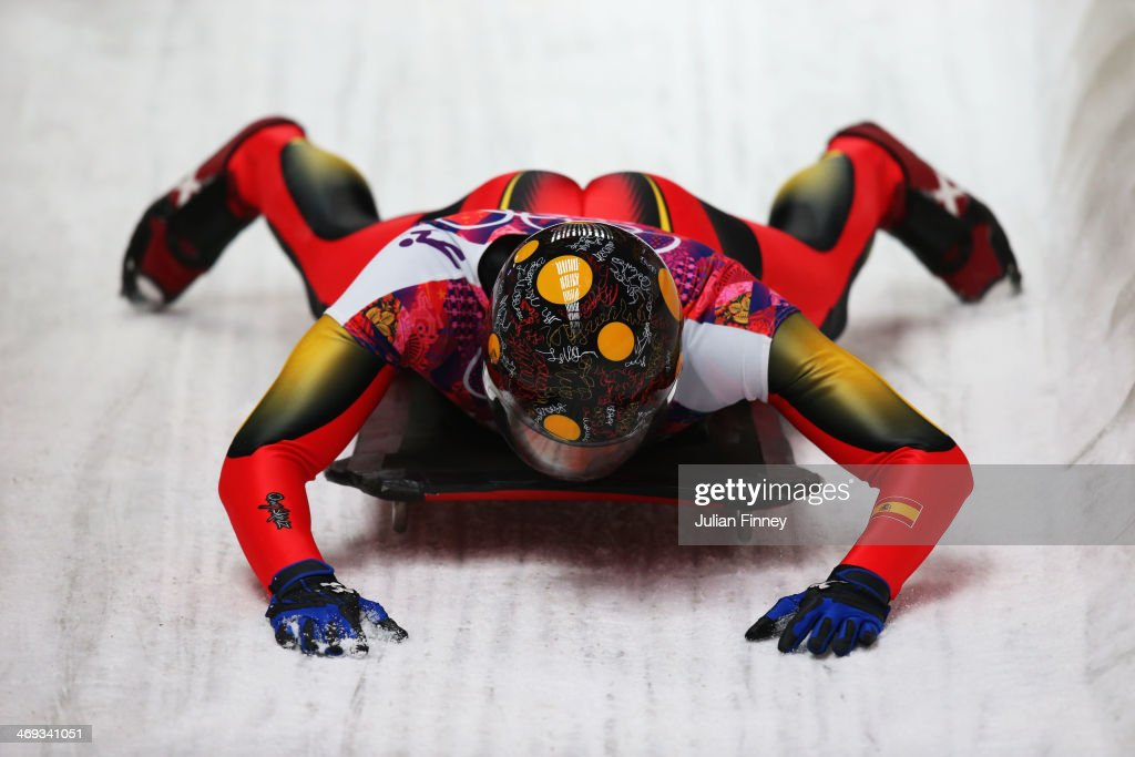 Ander Mirambell of Spain finishes a run during the Men's Skeleton heats on Day 7 of the Sochi 2014 Winter Olympics at Sliding Center Sanki on...