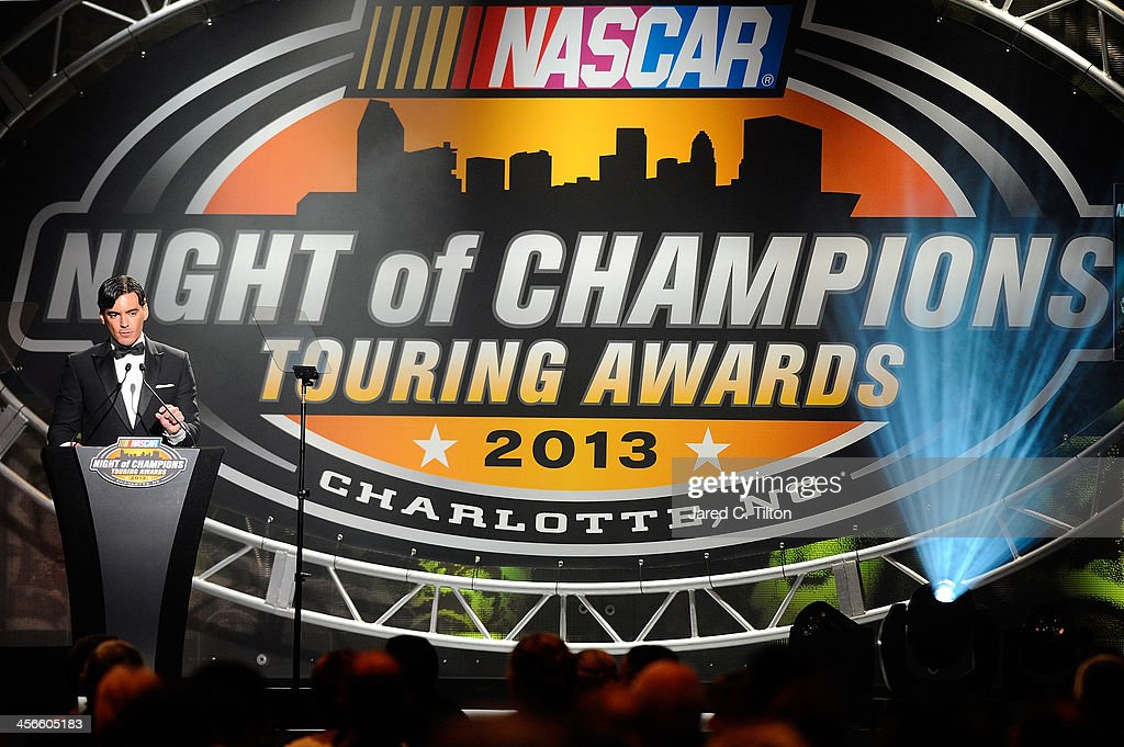 Ander Vilarino, NASCAR Whelen Euro Series Champion, speaks during the NASCAR Night of Champions at Charlotte Convention Center on December 14, 2013 in Charlotte, North Carolina.