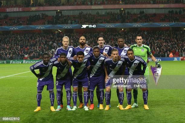 RSC Anderlecht group shot Top Row Olivier Deschacht Anthony Vanden Borre Sacha Kljesta Chancel Mbemba and Silvio Proto Bottom Row Frank Acheampong...