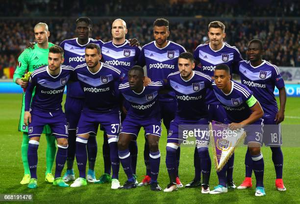 Anderlecht line up during the UEFA Europa League quarter final first leg match between RSC Anderlecht and Manchester United at Constant Vanden Stock...