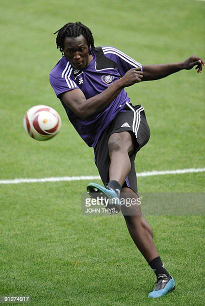 RSC Anderlecht player Romelu Lukaku controls the ball during a training session at the Constant Vanden Stock Stadium in Brussels on September 30 2009...