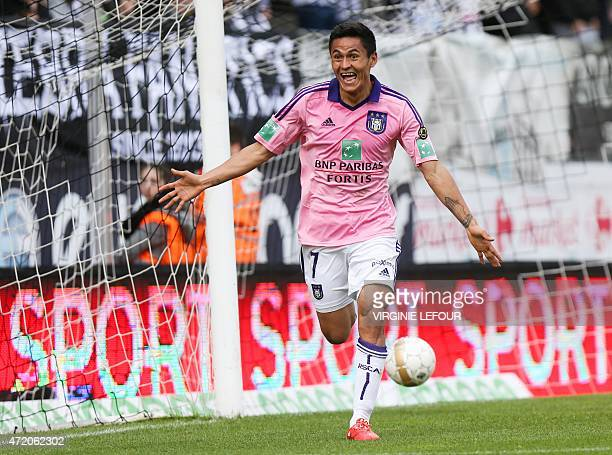 Anderlecht's Andy Najar celebrates after scoring a goal during the Jupiler Pro League match between Sporting Charleroi and RSC Anderlecht on May 3...