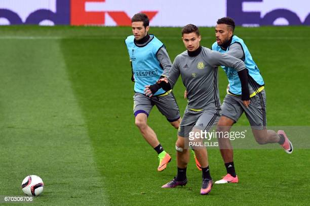 Anderlecht's Belgian midfielder Leander Dendoncker takes part in a training session at Old Trafford in Manchester north west England on April 19...