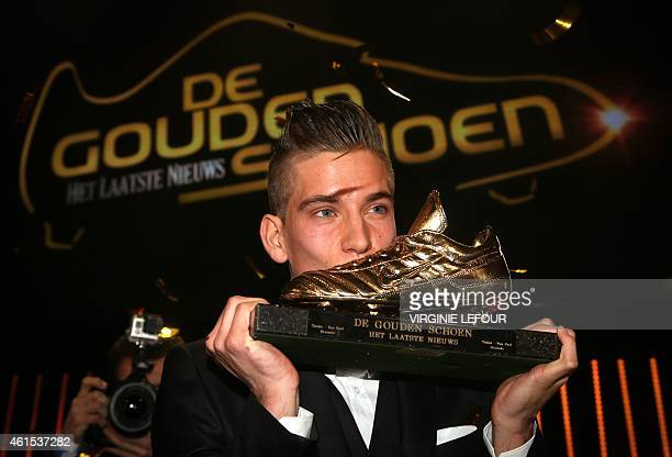 Anderlecht's Dennis Praet kisses his trophy after winning the 61th edition of the 'Golden Shoe' award ceremony on January 14 in Lint The Golden Shoe...