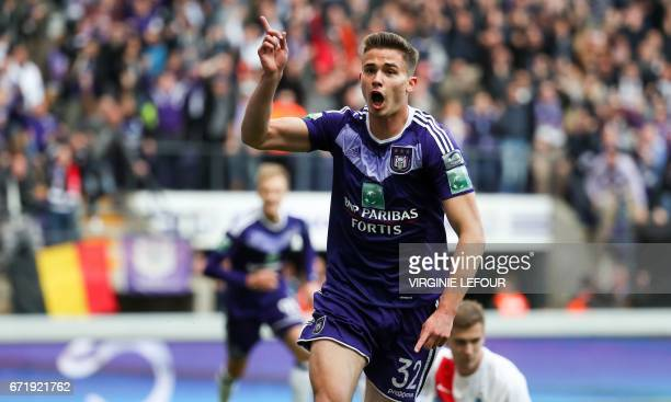Anderlecht's Leander Dendoncker celebrates after scoring during the Jupiler Pro League match between RSC Anderlecht and Club Brugge in Brussels on...