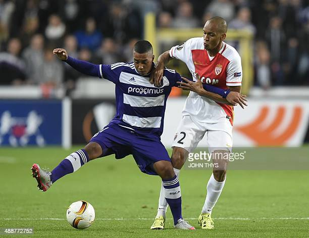 Anderlecht's midfielder Youri Tielemans vies with Monaco's Brazilian defender Fabinho during their UEFA Europa League football match at the Constant...