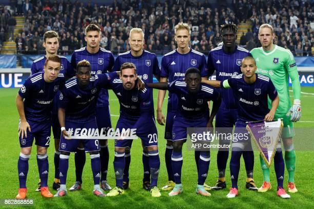Anderlecht's players Anderlecht's French midfielder Adrien Trebel Anderlecht's Nigerian forward Henry Onyekuru Anderlecht's Belgian midfielder Sven...
