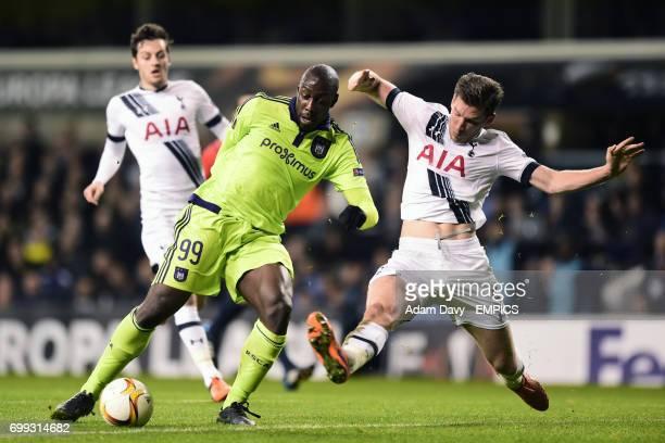 Anderlecht's Stefano Okaka and Tottenham Hotspur's Jan Vertonghen battle for the ball