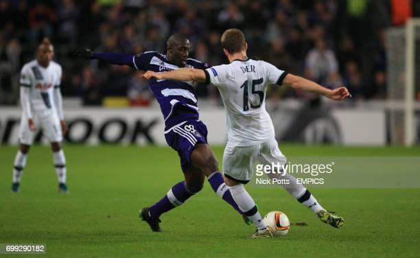 Anderlecht's Stefano Okaka battles for the ball with Tottenham Hotspur's Eric Dier