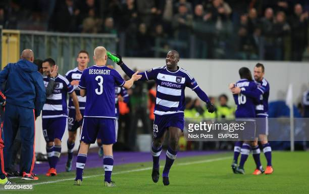 Anderlecht's Stefano Okaka celebrates scoring the winning goal beating Tottenham Hotspur 21
