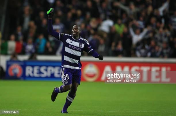 Anderlecht's Stefano Okaka celebrates scoring the winning goal beating Tottenham Hotspur 2 1