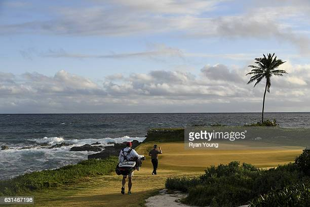Anders Albertson walks up the 13th hole tees off on the 13th hole during the continuation of the third round of The Bahamas Great Exuma Classic at...