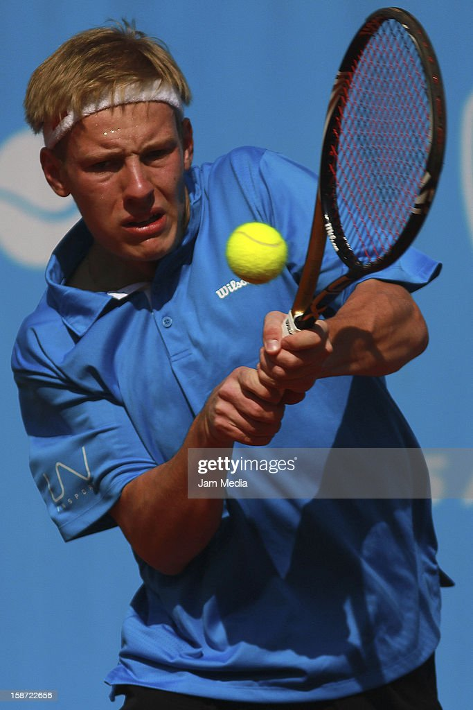Anders Arenfeldt Holm of Denmark in action during the Mexican Youth Tennis Open at Deportivo Chapultepec on December 24, 2012 in Mexico City, Mexico.