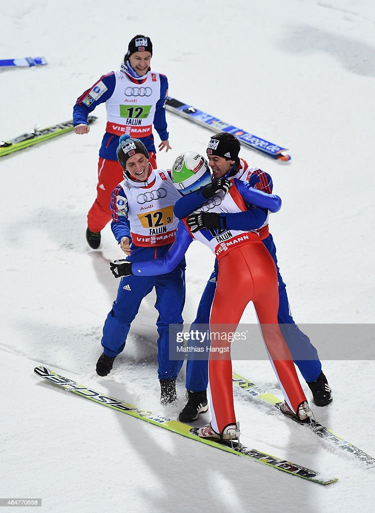 <a gi-track='captionPersonalityLinkClicked' href=/galleries/search?phrase=Anders+Bardal&family=editorial&specificpeople=2146620 ng-click='$event.stopPropagation()'>Anders Bardal</a>, <a gi-track='captionPersonalityLinkClicked' href=/galleries/search?phrase=Anders+Jacobsen+-+Saut+%C3%A0+ski&family=editorial&specificpeople=12186216 ng-click='$event.stopPropagation()'>Anders Jacobsen</a> and <a gi-track='captionPersonalityLinkClicked' href=/galleries/search?phrase=Anders+Fannemel&family=editorial&specificpeople=8824878 ng-click='$event.stopPropagation()'>Anders Fannemel</a> of Norway congratulate <a gi-track='captionPersonalityLinkClicked' href=/galleries/search?phrase=Rune+Velta&family=editorial&specificpeople=6845746 ng-click='$event.stopPropagation()'>Rune Velta</a> as they win the gold medal in the Men's Team HS134 Large Hill Ski Jumping during the FIS Nordic World Ski Championships at the Lugnet venue on February 28, 2015 in Falun, Sweden.