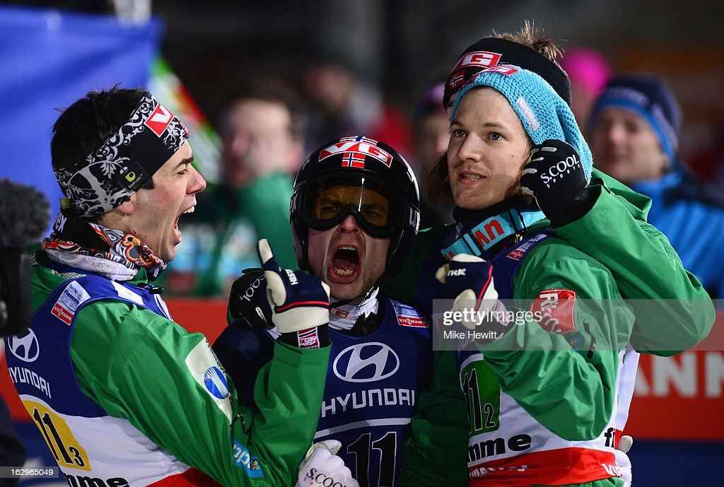 Anders Bardal Anders Jacobsen and Tom Hilde of Norway celebrate during the Men's Ski Jumping Team HS134 at the FIS Nordic World Ski Championships on...