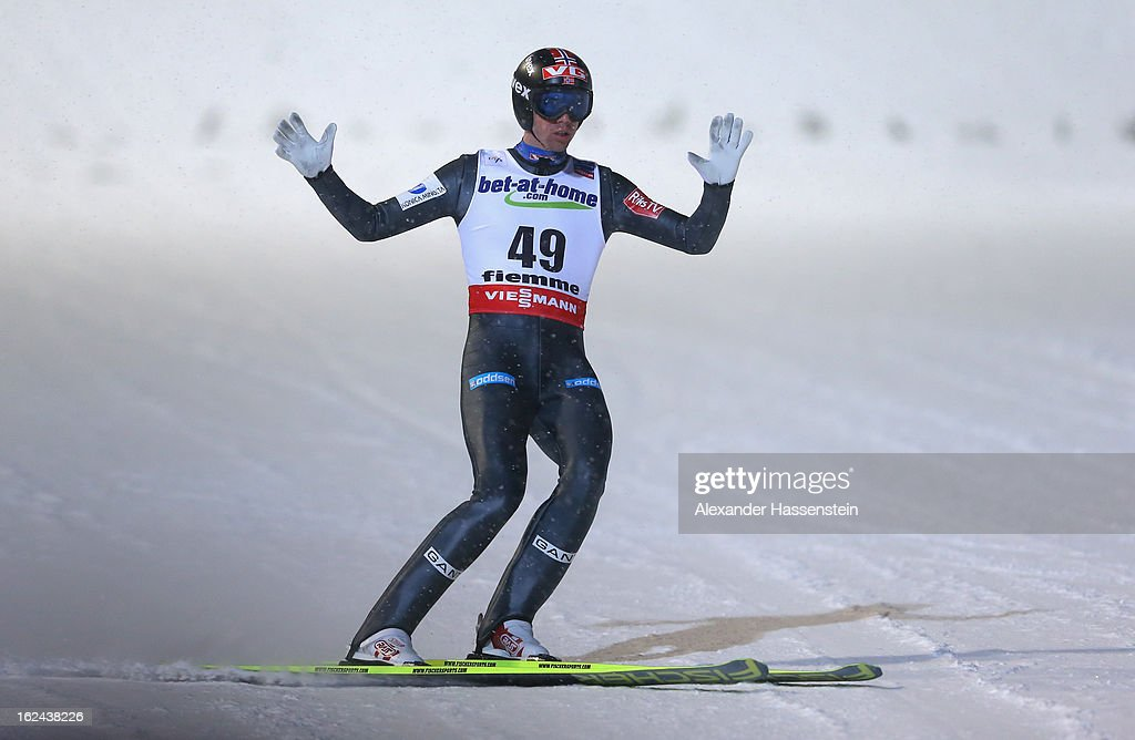 <a gi-track='captionPersonalityLinkClicked' href=/galleries/search?phrase=Anders+Bardal&family=editorial&specificpeople=2146620 ng-click='$event.stopPropagation()'>Anders Bardal</a> of Norway celebrates his jump during the Men's Ski Jumping HS106 Final Round at the FIS Nordic World Ski Championships on February 23, 2013 in Val di Fiemme, Italy.