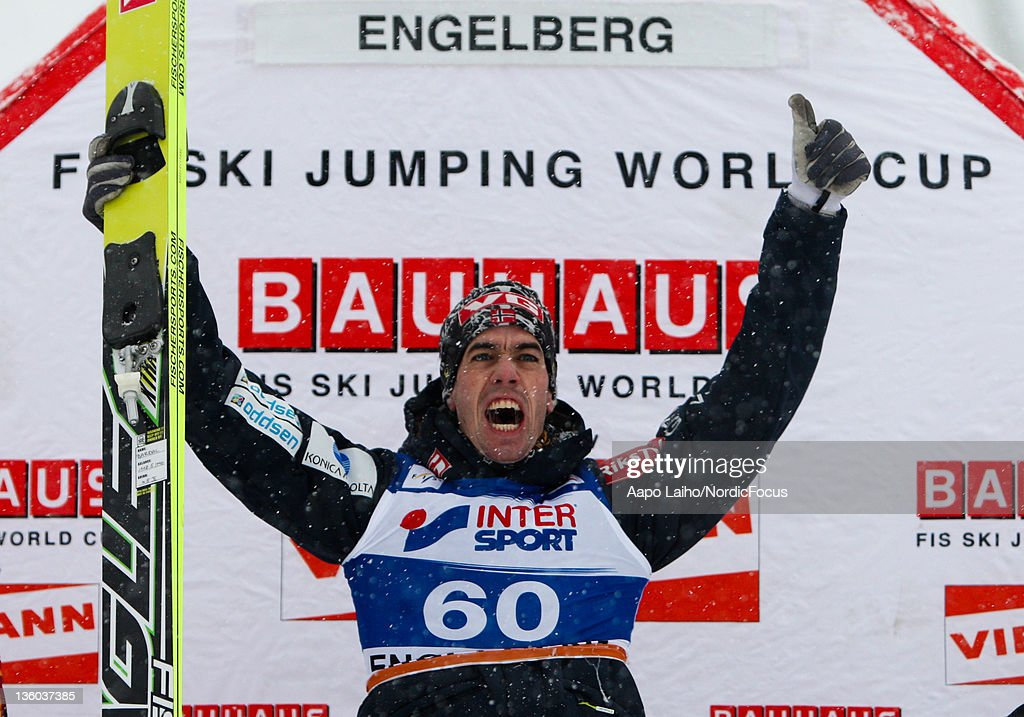 Anders Bardal of Norway celebrates the victory in the Men's Ski Jumping HS137 during day one of the FIS World Cup Ski Jumping on December 17, 2011 in Engelberg, Switzerland.