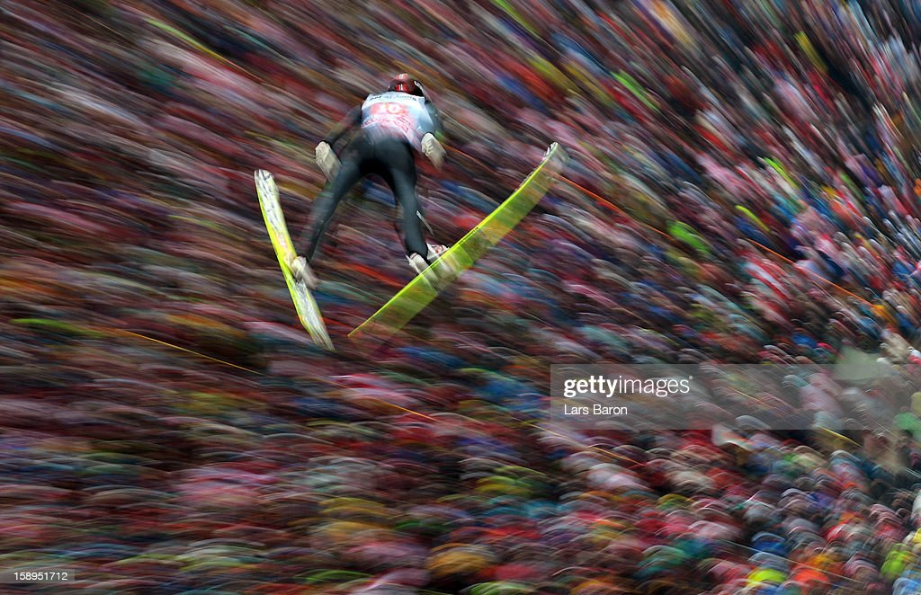 Anders Bardal of Norway competes during the first round for the FIS Ski Jumping World Cup event of the 61st Four Hills ski jumping tournament at Bergisel-Stadion on January 4, 2013 in Innsbruck, Austria.